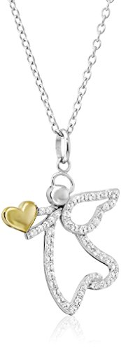 rling Silver Two-Tone Cubic Zirconia Angel with Heart Pendant Necklace, 18