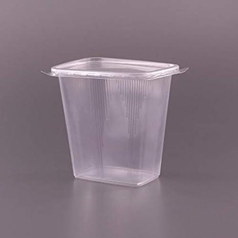 Paquete de 150 recipientes desechables de plástico de 500 ml con tapa para ensalada, ideal para llevar, para comida rápida, para almacenamiento