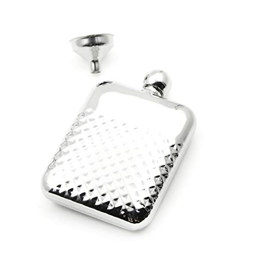 (iSavage 6oz Rectangle Embossed Pattern Hip Flask Mirror Finished, with a Funnel 18/8 Stainless Steel-YM108)