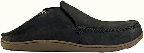 OluKai Men's Akahai Leather Moc Toe Slip-On,Onyx/Onyx Leather,US 9 M