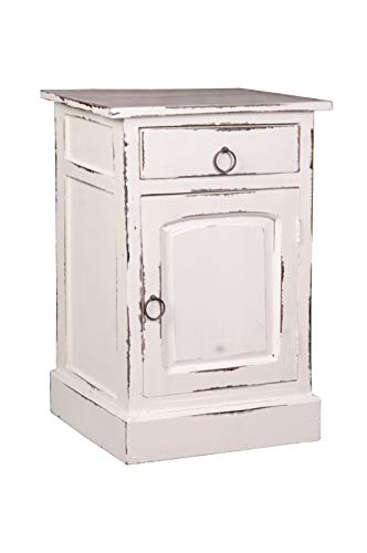 Sunset Trading Shabby Chic Cottage Side Table with Storage, One Drawer, Whitewash