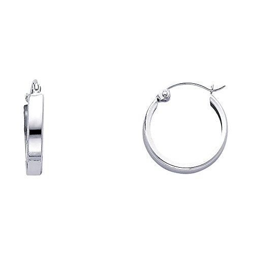 e Hoop Huggie Hoop High Polish Classic Flat Open Earrings ()