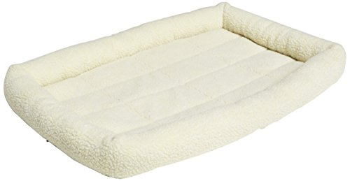 Fleece Crate Pad (AmazonBasics Padded Pet Bolster Bed - 35 x 22 inches)