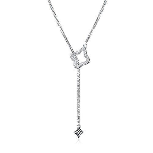 UNY New Style Trendy Elegant Vintage Retro Unique Pave Stone David Fahsion style Box Chain Women Long Necklace -