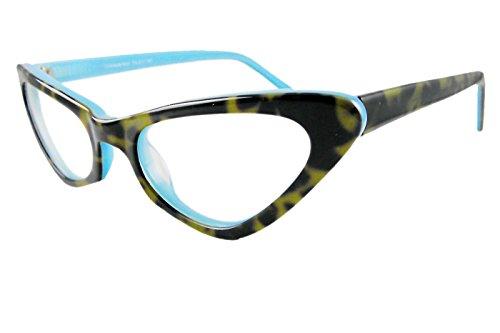 Circleperson women Reading glasses reader Cat eye Power 1 to 4 Acetate Tortoise+lake blue-Middle size (Tortoise+lake blue, - Tortoise Acetate