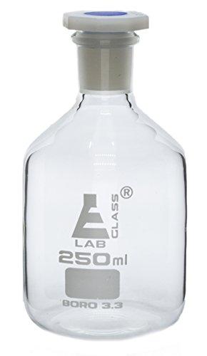 250mL (8.4oz) Glass Reagent Bottle with Acid Proof Polypropylene Stopper, Borosilicate 3.3 Glass - Eisco Labs