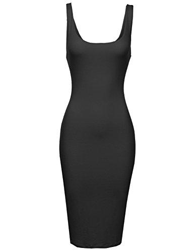 Back Body Con Dress - Zipper Back Body Con Midi Dress Black Size L