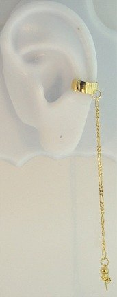 Gold Plated Left Or Right Bajoran Textured Slave Ear Cuff Wrap Chain