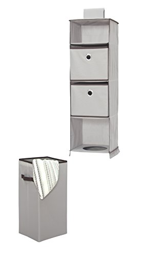 STORAGE MANIAC Hanging Closet Organizer with Removable Laundry Basket, 2 Drawers, 1 Laundry Bin, Gray