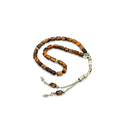 - Elegant Tiger Eye Cylinder Prayer Beads (33 Beads) Tesbih-Tasbih-Tasbeeh-Misbaha-Masbaha-Subha-Sebha-Sibha-Rosary-Worry Beads