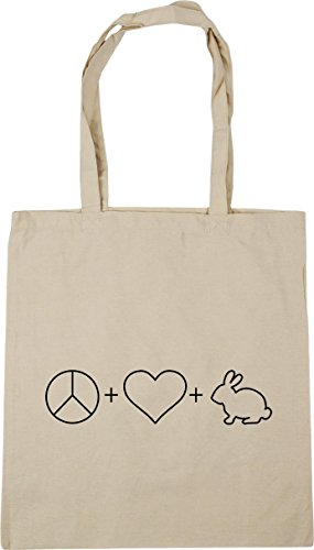 HippoWarehouse Peace, Love and Rabbits Tote Shopping Gym Beach Bag 42cm x38cm, 10 litres Natural