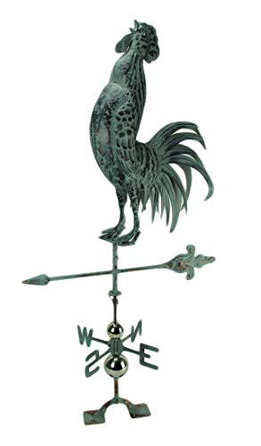 Things2Die4 Verdigris Patina Metal Rooster Weather Vane with Roof Mount
