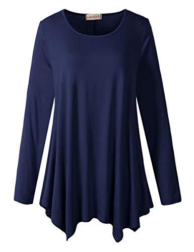 LARACE Womens Long Sleeve Flattering Comfy Tunic Loose Fit Flowy Top (L, Navy Blue)