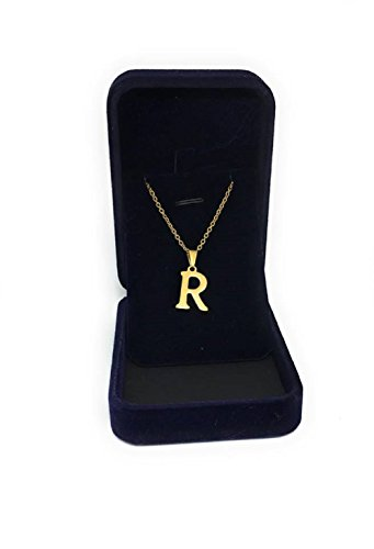 M&B 18k real gold plated initial necklace stainless steel titanium never fade for unisex (18, R- initial necklace) (18' Titanium Necklace)