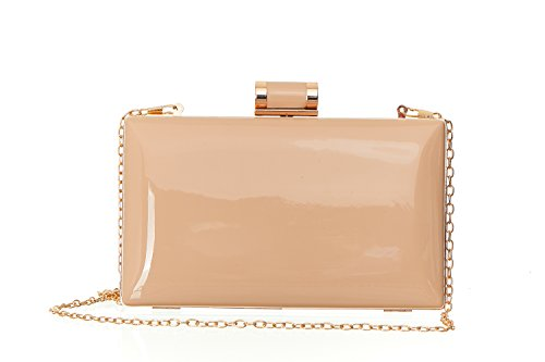 ROXX Faux Patent Leather Candy Clutch Women's Shiny Solid Patent Rectangular Box Clutch with Top Clasp - - Leather Clutch Faux Purse