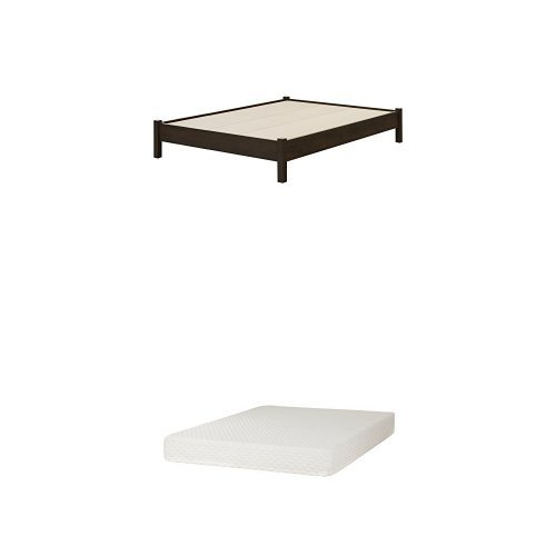 South Shore Fynn Full-Size Platform Bed (54''), Brown Oak, and Somea Full Mattress included ()
