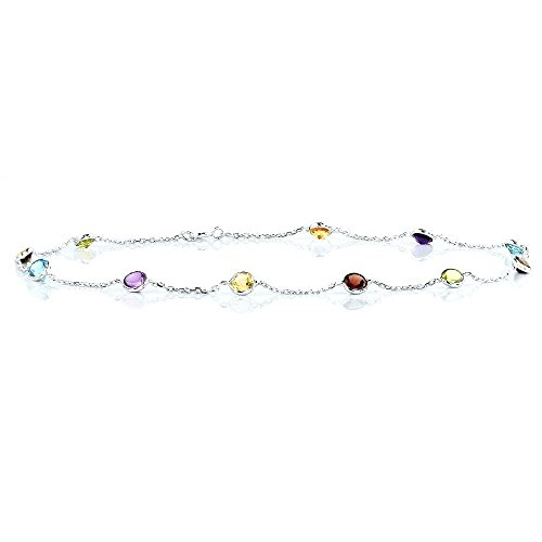 14k White Gold Handmade Station Anklet with Round 4mm Gemstones by amazinite