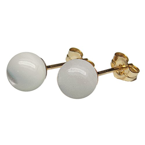 - 6mm Genuine White Mother of Pearl MOP Gemstone Bead / Ball / Sphere 14k Yellow Gold Filled GF Ear Stud Earrings Pair