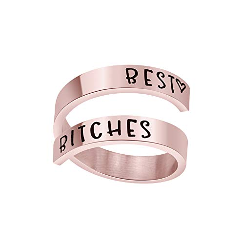Friendship Ring Sister Jewelry Best Friends (Best Bitchs-Ring-Rose Gold)