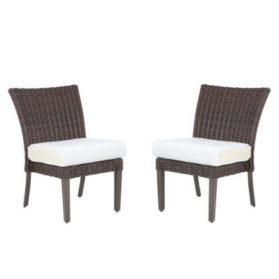 Mill Valley Fully Woven Patio Armless Side Chairs with Parchment Cushions (2-Pack) price
