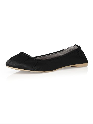 Women's Matte Satin Ballet Flats with Pleated Toe Detail by Dessy - Black - Size (Ballet Peep Toe Flats)