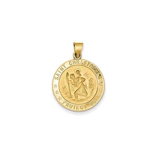 Roy Rose Jewelry 14K Yellow Gold Saint Christopher Medal Pendant 22mm width (Gold Medal 14k Yellow)