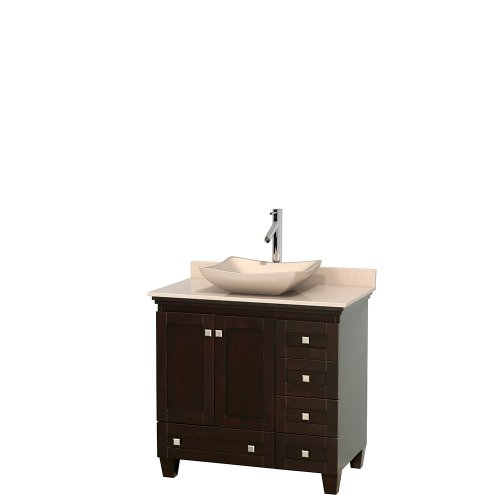 Wyndham Collection Acclaim 36 inch Single Bathroom Vanity in Espresso, Ivory Marble Countertop, Avalon Ivory Marble Sink, and No (Ivory Marble Top)