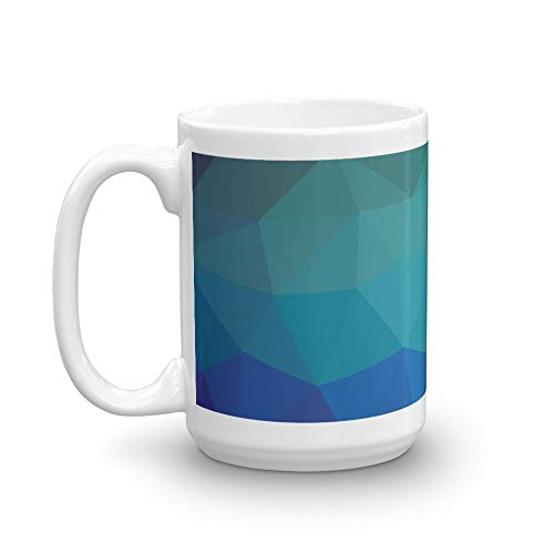 Polygonal Blue Background. Blue Crystal Pattern Blue Texture. 15 Oz Ceramic Glossy Gift For Coffee Lovers Quote Mug Gifts For Men & Women