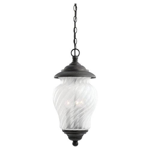 Winona Outdoor Pendant - Sea Gull Lighting 60175-757 Three-Light Winona Outdoor Pendant, White Swirl Glass, Golden Aubergine