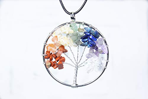 Tree of Life Pendant Amethyst Rose Crystal Necklace Gemstone Chakra Jewelry (Colorful Crystal)