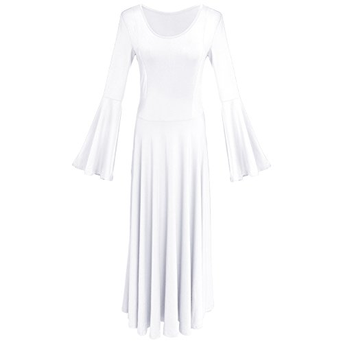 Women Adult Bell Long Sleeves Liturgical Praise Lyrical Dance Dress Solid Loose Fit Full Length Maxi Swing Gown Pleated Ruffle Tunic Circle Skirts Christian Worship Costume Praisewear White S