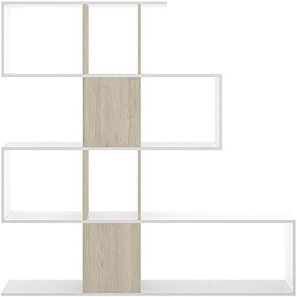 HABITMOBEL Estantería o librería Moderna en Forma de zig Zag Color Roble Natural 145x145x29 cm para habitación Infantil