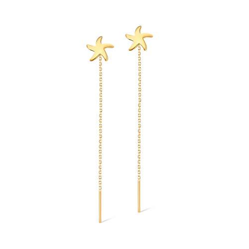 14k Solid Gold Coral Dangle Drop Stud Earrings - Gold Earrings for Women - Gelin Diamond