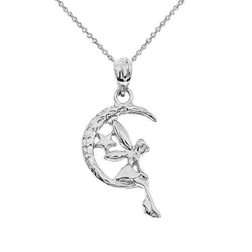 CaliRoseJewelry Sterling Silver Tinkerbell Fairy Tale on The Moon Charm Pendant Necklace, 16
