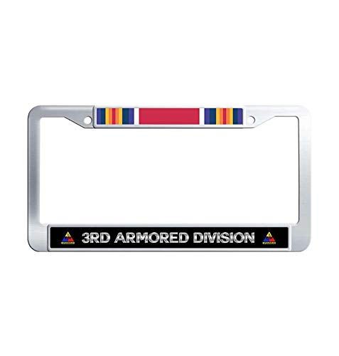 Toanovelty 3rd Armored Division WW2 Veteran Service Ribbon Metal License Frame car, U.S. Army Spearhead March Waterproof Stainless Steel Car Auto Tag Frame 6' x 12' in ()