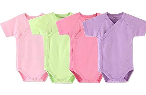 Baby Boys Girls Short Sleeves Kimono Onsies Cotton Baby Side-snap Bodysuit Pack of Cardigan Onsies for Infants (6-9 Months)