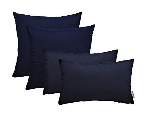 Navy Blue Sunbrella (RSH Décor Set of 4 Indoor Outdoor Decorative Throw Pillows -17