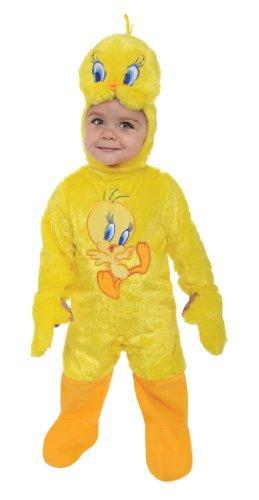 [Looney Tunes Tweety Bird Romper Costume, Yellow, 6-12 Months] (Toddler Boy Big Bird Costume)
