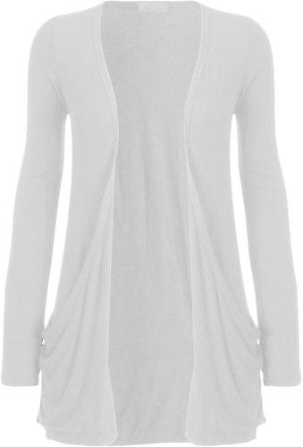 54 36 de longues base Top Nouveaux Taille White Grande ordinaire Cardigan manches Femmes XxORqP