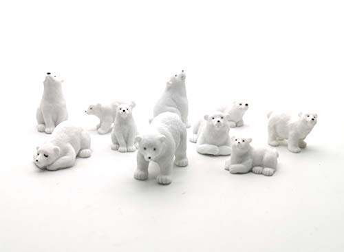 Easy 99 Mini Animals Miniature Figurines Animals Model Fairy Garden Miniature Moss Landscape DIY Terrarium Crafts Ornament Accessories for Home Décor (Polar Bears, Set of 10)
