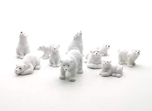 Polar Bear Ornament (Easy 99 Mini Animals Miniature Figurines Animals Model Fairy Garden Miniature Moss Landscape DIY Terrarium Crafts Ornament Accessories for Home Décor (Polar Bears, Set of)