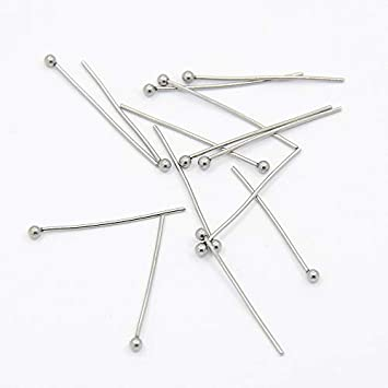 1.57 Inch DanLingJewelry Approx 500Pcs 304 Stainless Steel Ball Head Pins Findings Jewelry Making 40mm