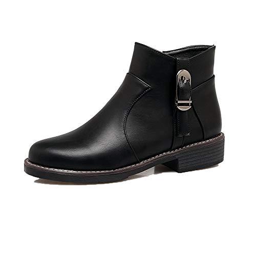 WeiPoot Women's Zipper Low-Heels Pu Solid Low-Top Boots,