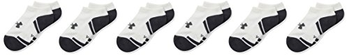 (Under Armour Boy Resistor 3.0 No Show Socks, Youth Large, White/Graphite)