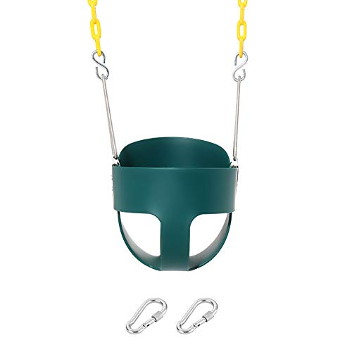 Take Me Away High Back Full Bucket Toddler Swing Seat with Yellow Coated Swing Chains Fully Assembled - Swing Set Accessories, Green (Toddler Set Swing Seat)