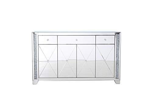 Elegant Decor 60 in Silver Crystal Mirrored credenza