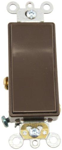 Leviton 5691-2 15 Amp, 120/277 Volt, Decora Plus Rocker Single-Pole AC Quiet Switch, Commercial Grade, Brown