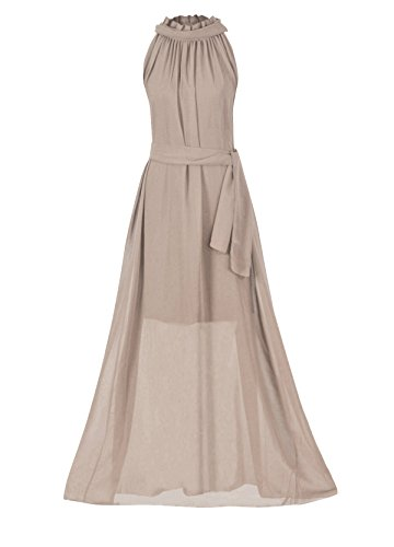 Howriis Women's Khaki Chiffon Sleeveless Long Formal Dress (Khaki) (Bridesmaid Dresses Khaki)