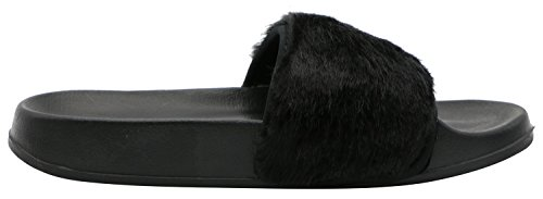 Flat On Rowoo Faux Slipper Black Sandals Women Slip Fur Trim xx4Y6wA