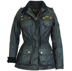 Barbour International Speedway Fleece Lined Waxed Cotton Jacket - Black (8)